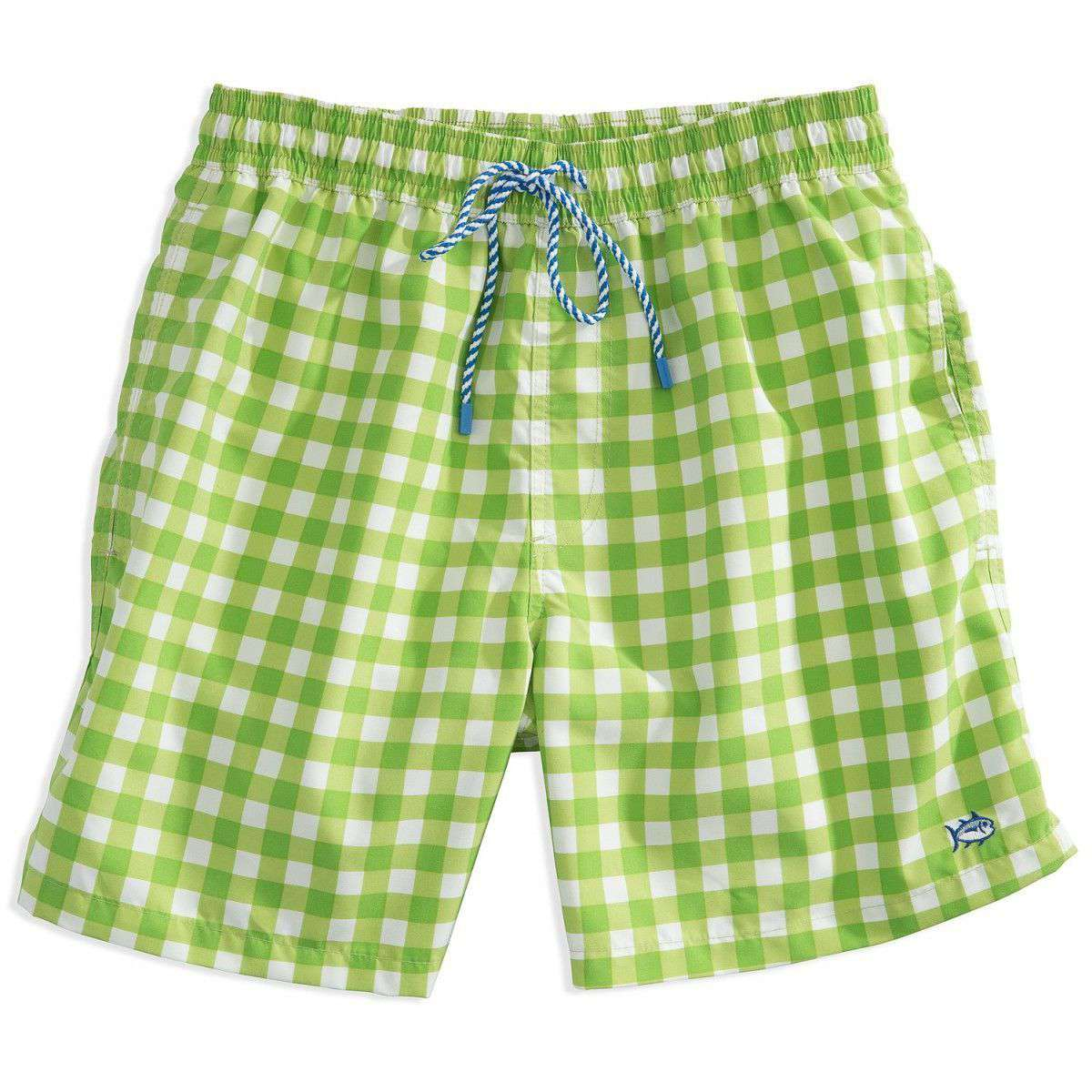 517554c2ea Southern Tide Gingham Swim Trunks in Green – Country Club Prep