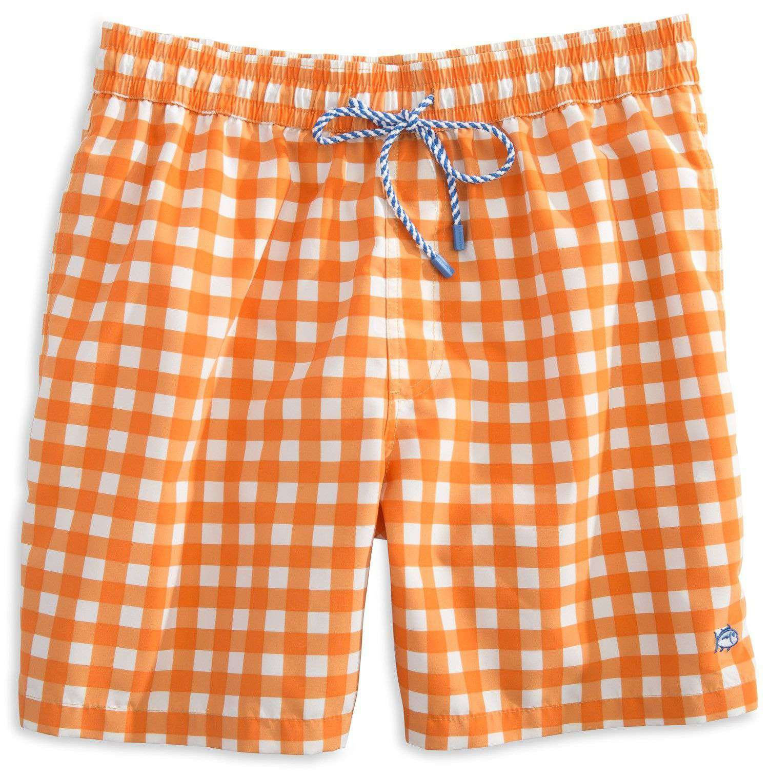 Men's Swimsuits - Gingham Swim Trunks In Orange By Southern Tide