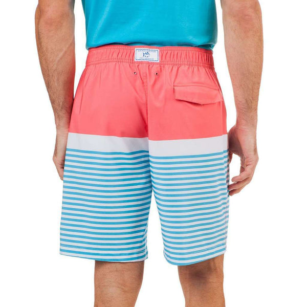 Horizon Stripe Water Short in Sunset Coral by Southern Tide - FINAL SALE