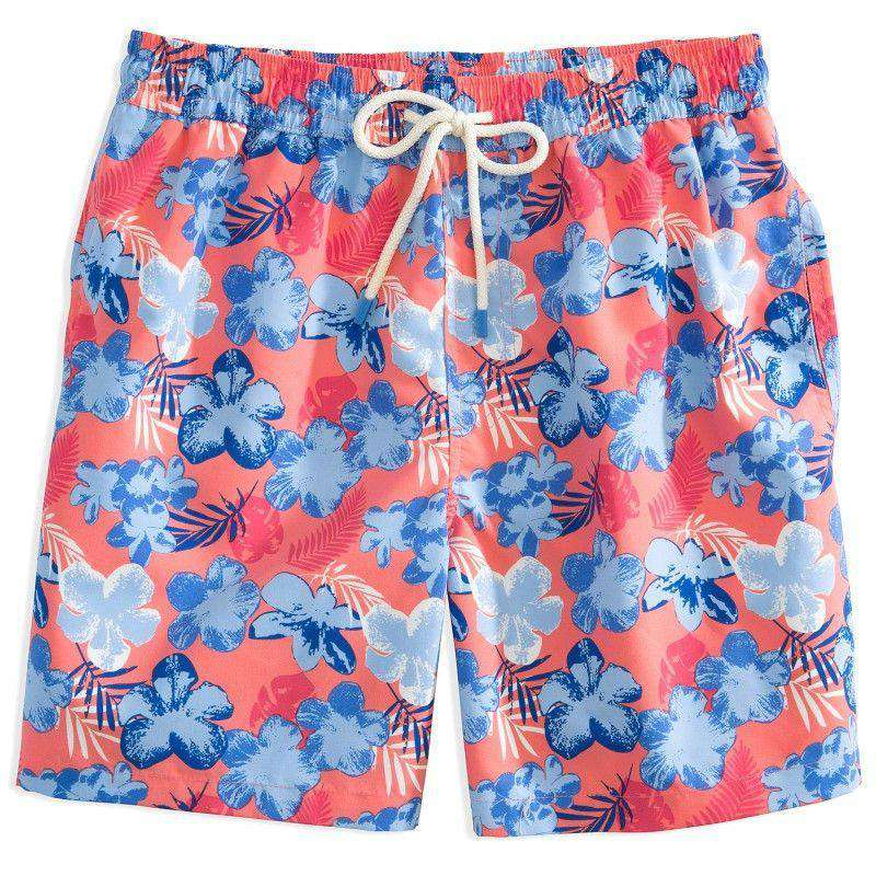 Men's Swimsuits - Island Palm Swim Trunks In Coral By Southern Tide