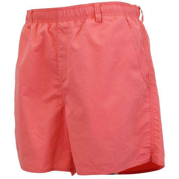 Men's Swimsuits - Manfish Swim Trunk In Coral By AFTCO - FINAL SALE