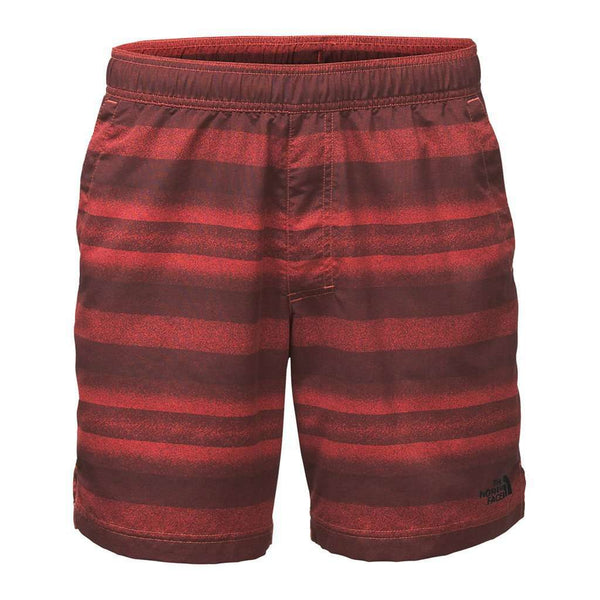 "Men's Swimsuits - Men's 7"" Class V Pull-On Trunks In Sunbaked Red Static Stripe By The North Face - FINAL SALE"