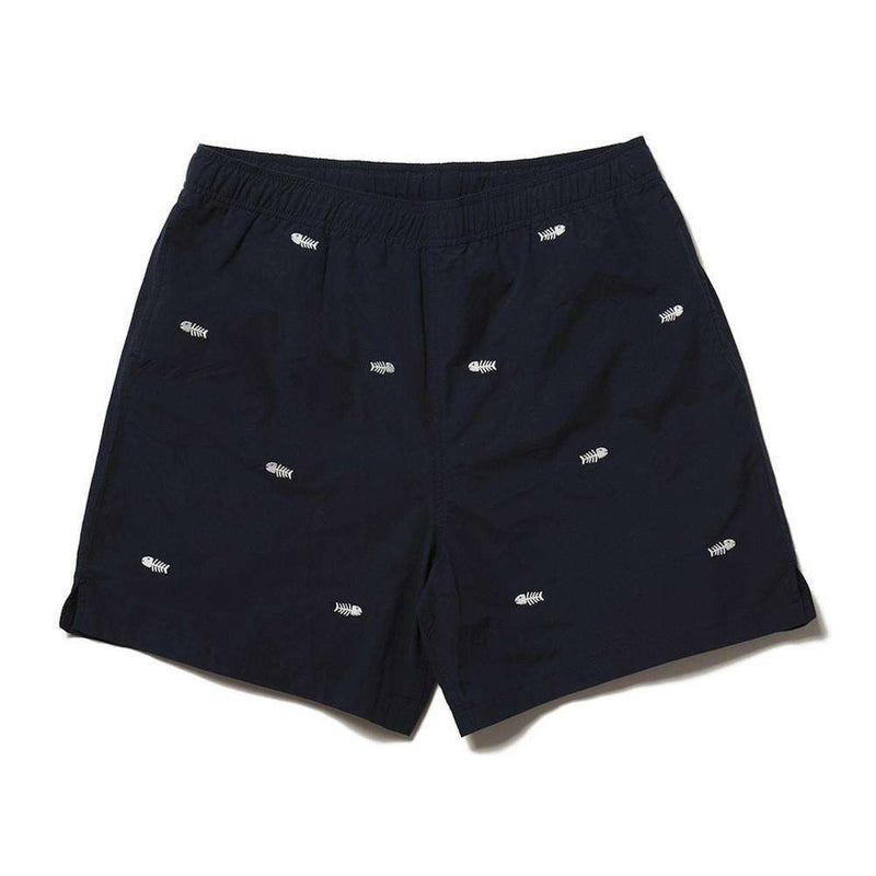 Men's Swimsuits - Nobadeer Bathing Suit In Nantucket Navy With White Bonefish By Castaway Clothing