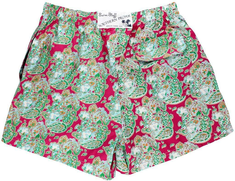 Men's Swimsuits - Paisley Cotton Boll Swimsuit In Pink By Southern Proper