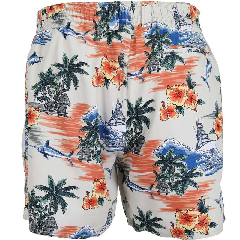 Men's Swimsuits - Palmera Swim Trunks In Khaki By AFTCO - FINAL SALE