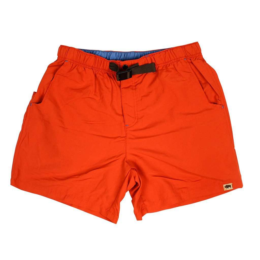 Men's Swimsuits - Riverdale Belted Swim Trunks In Red By Buffalo Jackson