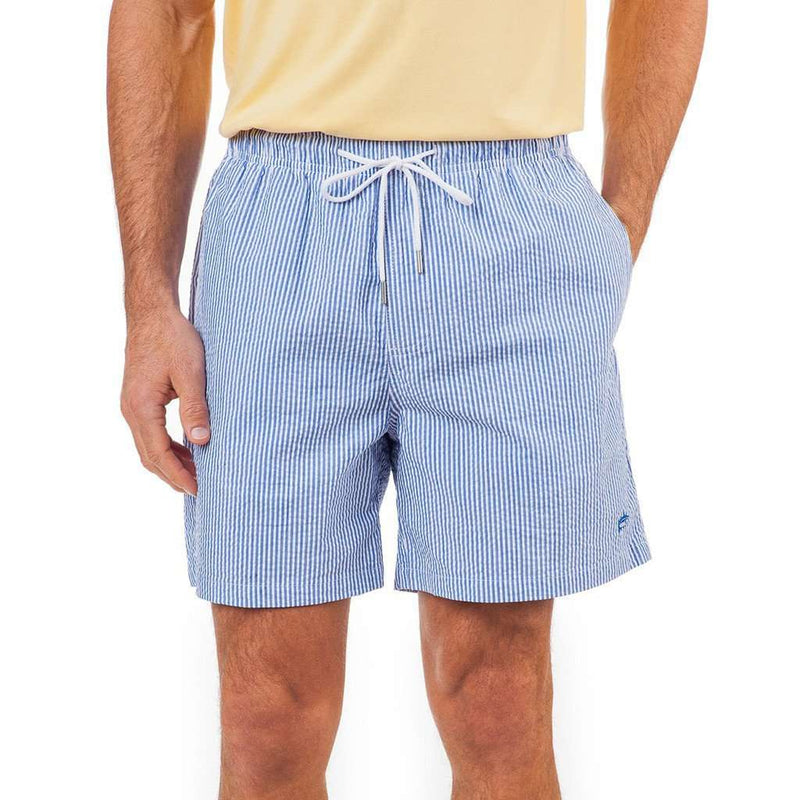 Men's Swimsuits - Seersucker Swim Trunk In Cobalt Blue By Southern Tide