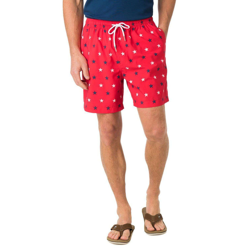 Show Your Stripes Swim Trunk in Red by Southern Tide