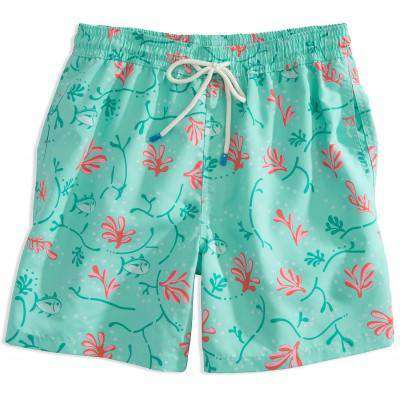 Men's Swimsuits - Skipjack Coral Swim Trunk In Aqua By Southern Tide