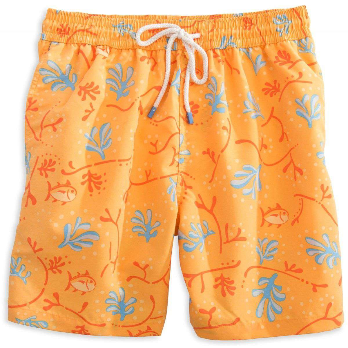 Men's Swimsuits - Skipjack Coral Swim Trunk In Orange By Southern Tide