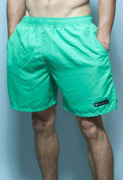 Men's Swimsuits - Solid Black Label Swim Trunks In Mint By Rowdy Gentleman