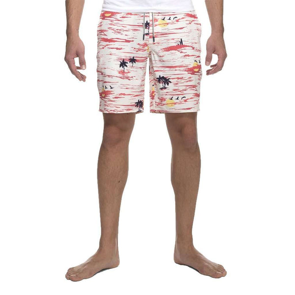 Tiki Half Elastic Surf Shorts in Coral by Johnnie-O - FINAL SALE