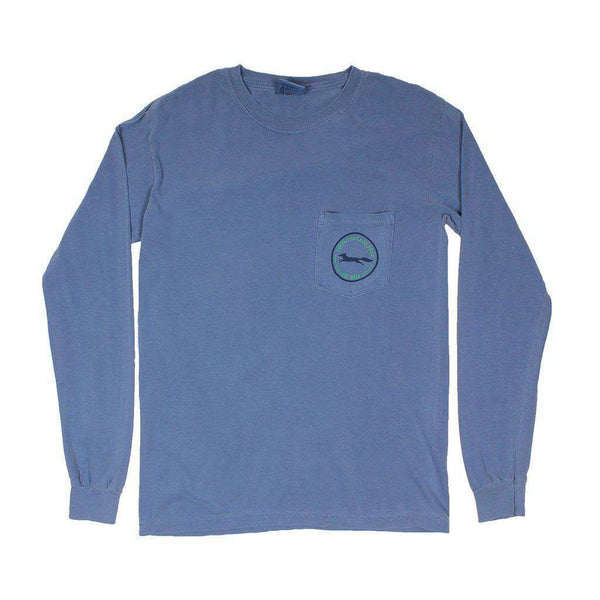 Men's Tee Shirts - 19th Hole Longshanks Logo Long Sleeve Tee In Blue Jean By Country Club Prep
