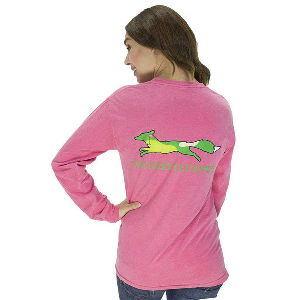 Men's Tee Shirts - 19th Hole Longshanks Logo Long Sleeve Tee In Crunchberry By Country Club Prep