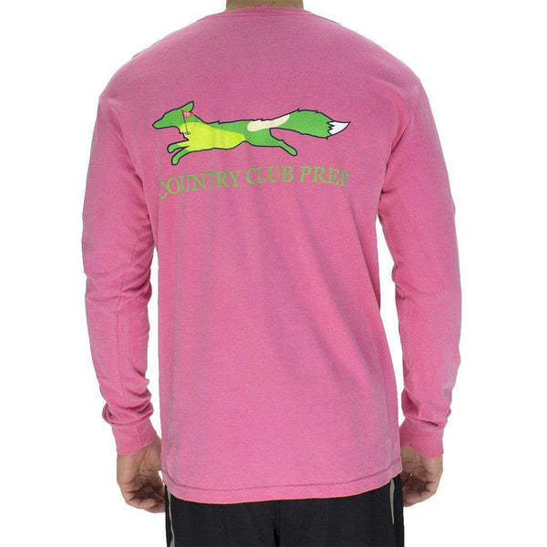 19th Hole Longshanks Logo Long Sleeve Tee in Crunchberry by Country Club Prep
