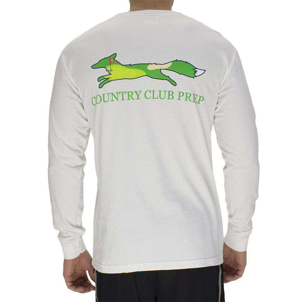 Men's Tee Shirts - 19th Hole Longshanks Logo Long Sleeve Tee In White By Country Club Prep