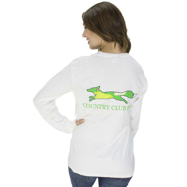 19th Hole Longshanks Logo Long Sleeve Tee in White by Country Club Prep