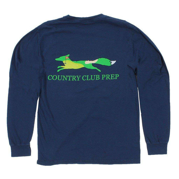 Men's Tee Shirts - 19th Hole Longshanks Logo Long Sleeve Tee Shirt In True Navy By Country Club Prep