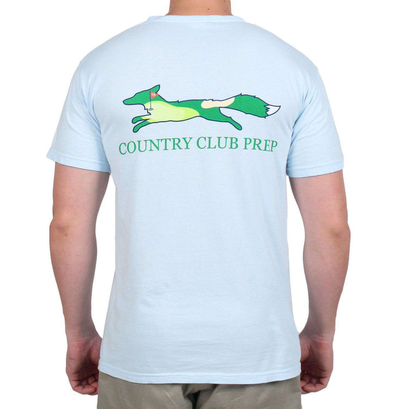 Men's Tee Shirts - 19th Hole Longshanks Logo Tee Shirt In Chambray Blue By Country Club Prep
