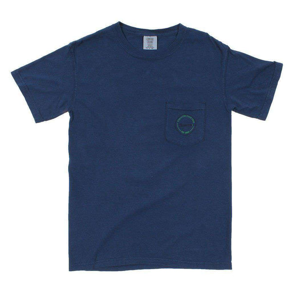 Men's Tee Shirts - 19th Hole Longshanks Logo Tee Shirt In True Navy By Country Club Prep