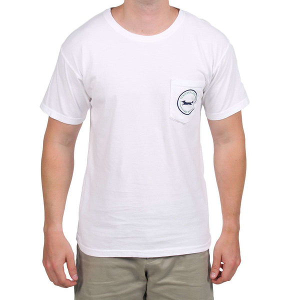 Men's Tee Shirts - 19th Hole Longshanks Logo Tee Shirt In White By Country Club Prep