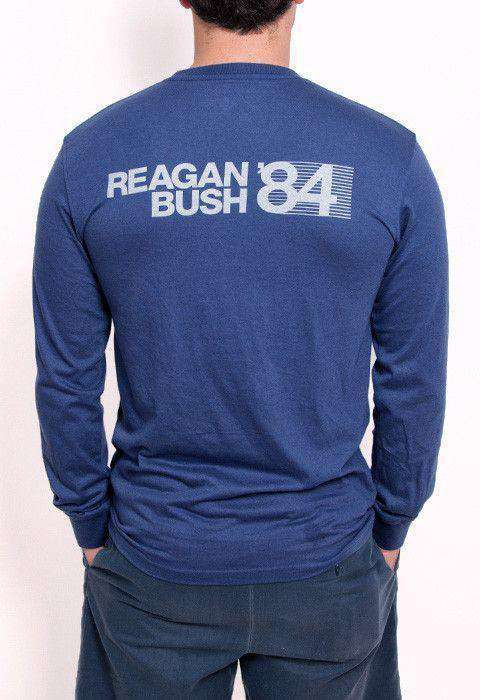 Men's Tee Shirts - 30th Anniversary Reagan Bush '84 Long Sleeve Pocket Tee In Navy By Rowdy Gentleman