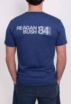 Men's Tee Shirts - 30th Anniversary Reagan Bush '84 Short Sleeve Pocket Tee In Navy By Rowdy Gentleman