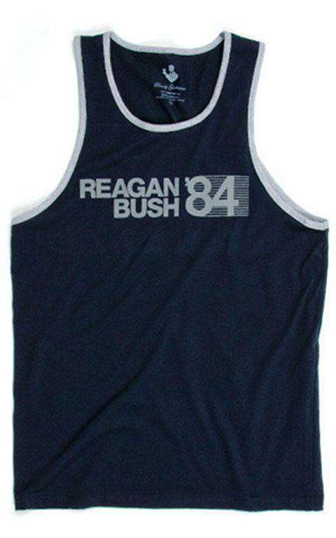Men's Tee Shirts - 30th Anniversary Reagan Bush '84 Tank Top In Navy By Rowdy Gentleman