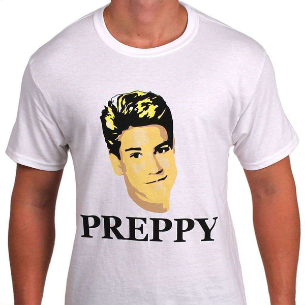 Men's Tee Shirts - 80's Prep Tee In White By So Fr@ - FINAL SALE