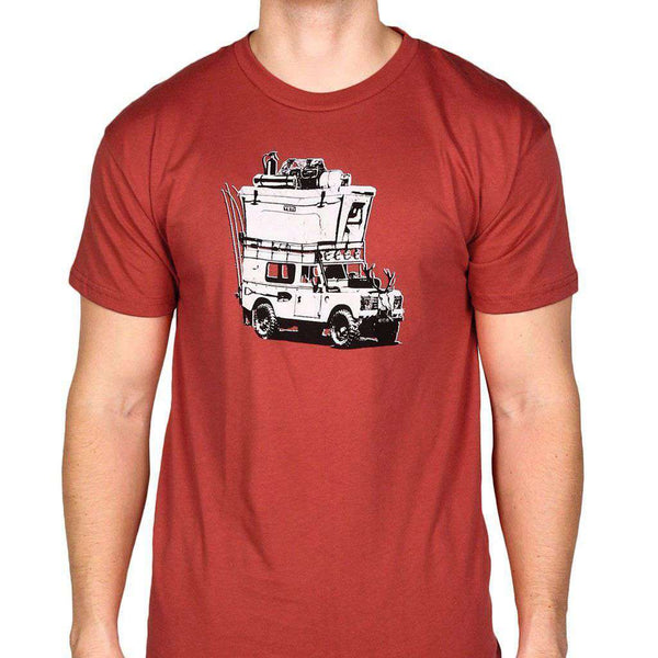 Men's Tee Shirts - Adventure Vehicle Tee Shirt In Brick Red By YETI