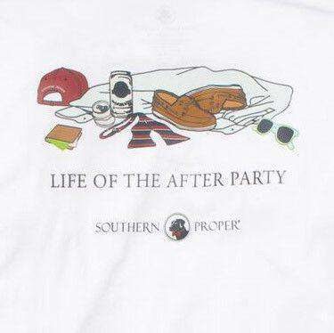 Men's Tee Shirts - After Party Longsleeve Tee In White By Southern Proper