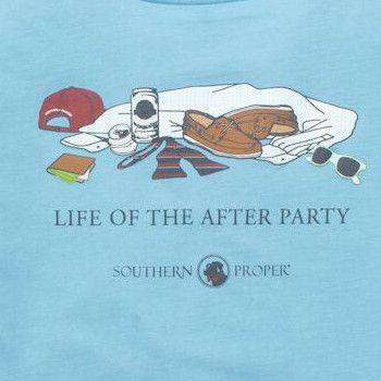 Men's Tee Shirts - After Party Tee In Retro Blue By Southern Proper