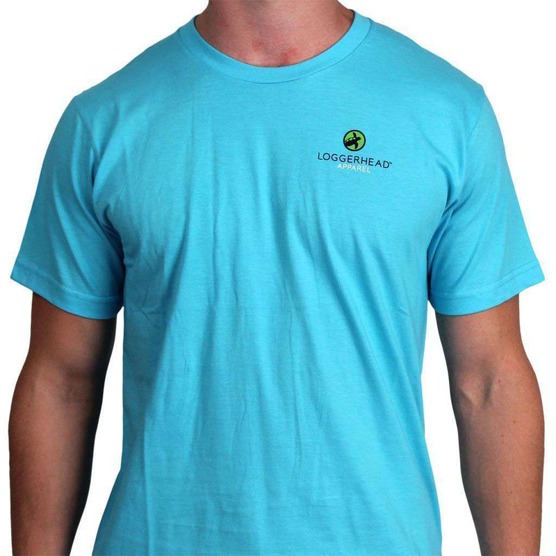 Men's Tee Shirts - Against The Tide Tee In Aquamarine By Loggerhead Apparel