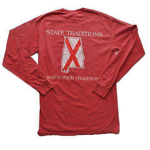 Men's Tee Shirts - AL Traditional Long Sleeve T-Shirt In Crimson By State Traditions