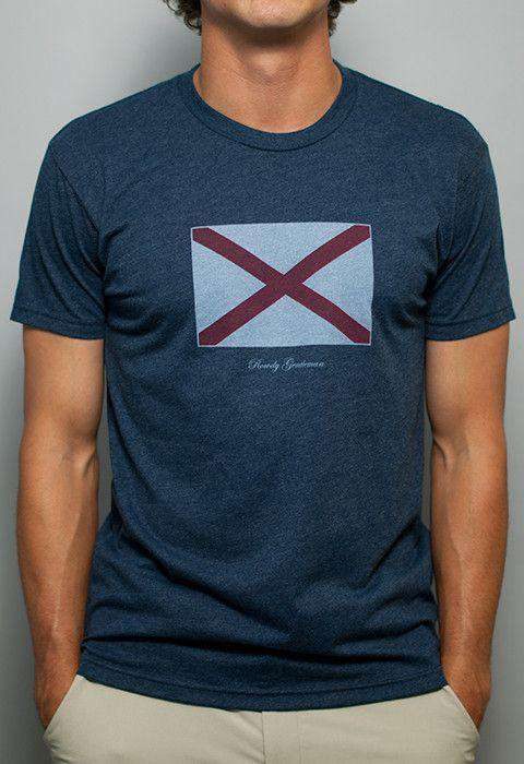 Men's Tee Shirts - Alabama State Pride Vintage Tee In Faded Blue By Rowdy Gentleman - FINAL SALE