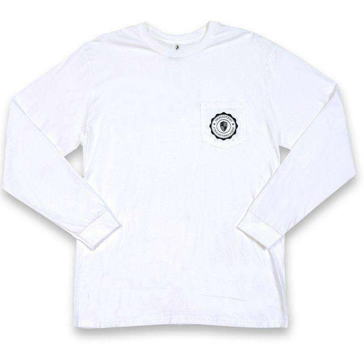 All American Long Sleeve Pocket Tee in White by High Cotton - FINAL SALE