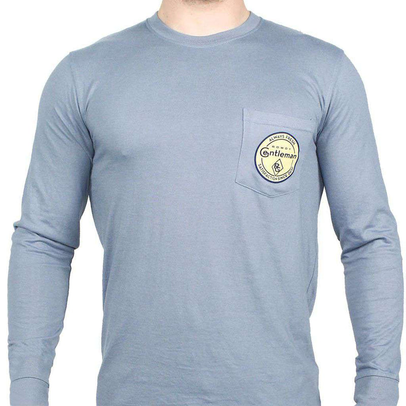 Men's Tee Shirts - Always Fresh Long Sleeve Pocket Tee In Citadel Blue By Rowdy Gentleman