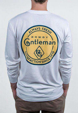 Men's Tee Shirts - Always Fresh Long Sleeve Pocket Tee Shirt In White By Rowdy Gentleman