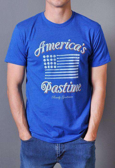 Men's Tee Shirts - America's Pastime Vintage Tee In Royal Blue By Rowdy Gentleman - FINAL SALE