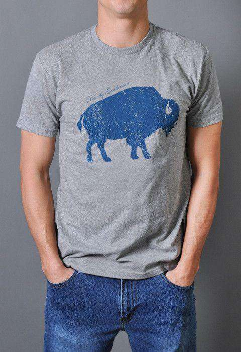 Men's Tee Shirts - American Buffalo Vintage Tee Shirt In Gray By Rowdy Gentleman