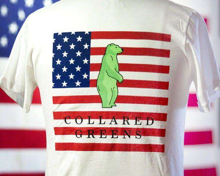 Men's Tee Shirts - American Flag Tee In White By Collared Greens