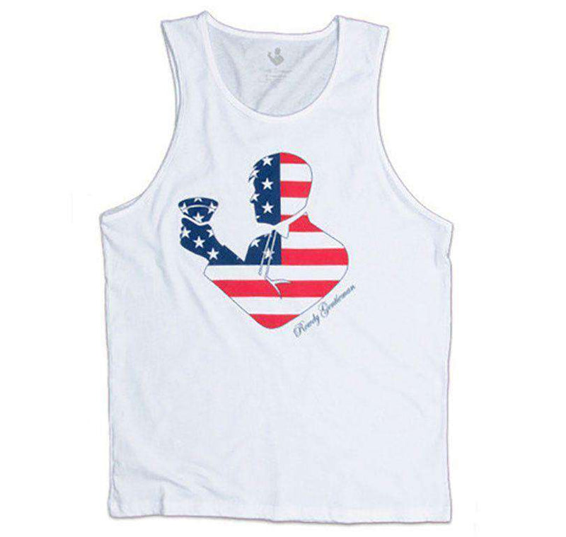Men's Tee Shirts - American Flag Toasting Man Tank Top In White By Rowdy Gentleman