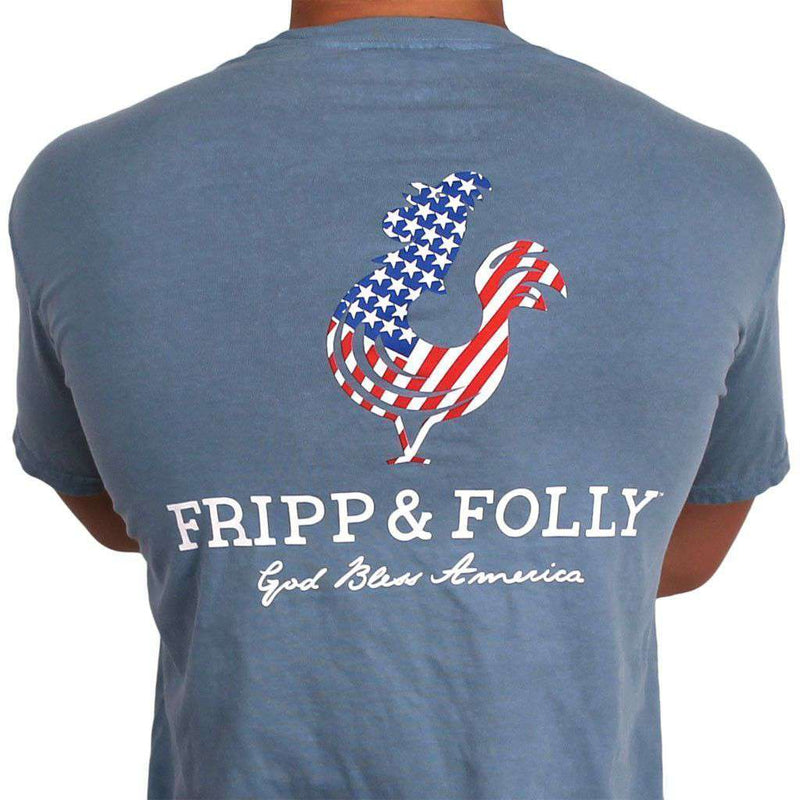Men's Tee Shirts - American Logo Tee In Ice Blue Jean By Fripp & Folly