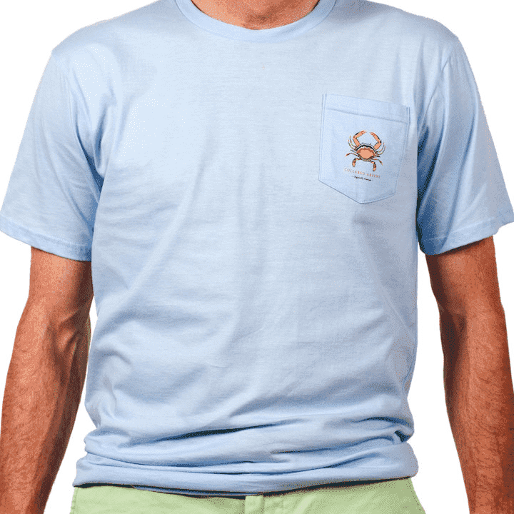Men's Tee Shirts - American Made Blue Crab Tee In Carolina Blue By Collared Greens