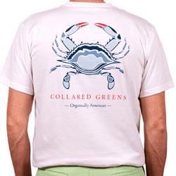 American Made Blue Crab Tee in White by Collared Greens