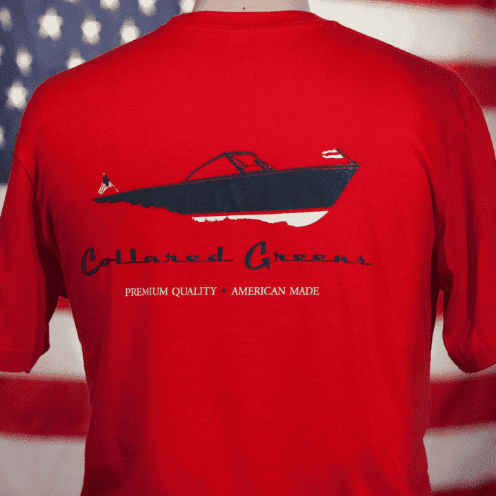 Men's Tee Shirts - American Made Boat Tee In Red By Collared Greens