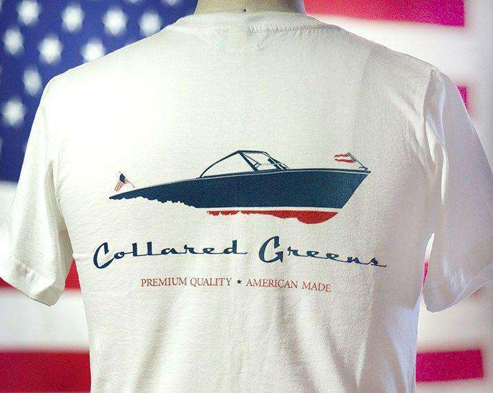 Men's Tee Shirts - American Made Boat Tee In White By Collared Greens
