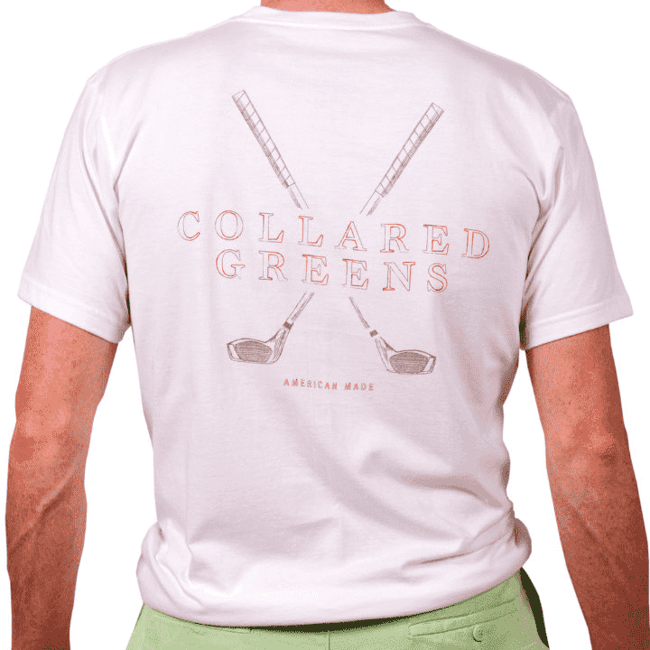 Men's Tee Shirts - American Made Classic Golf Tee In White By Collared Greens
