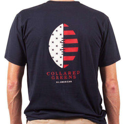 Men's Tee Shirts - American Made Football Tee In Navy By Collared Greens