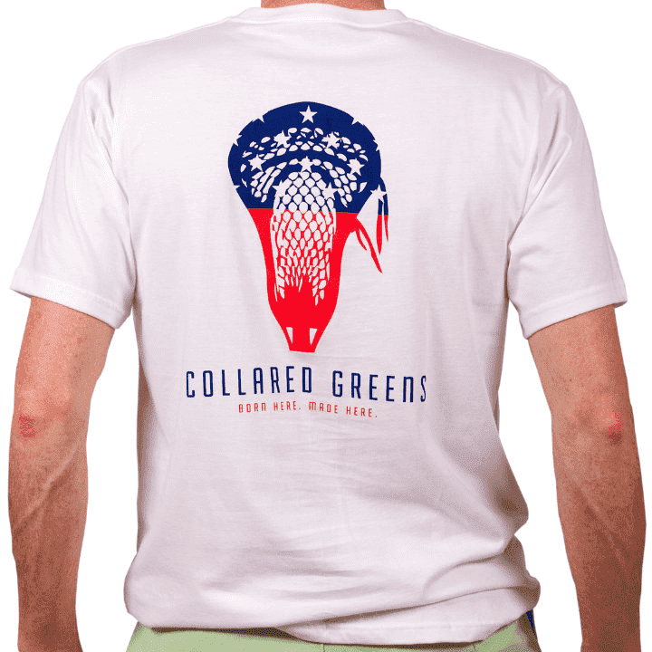Men's Tee Shirts - American Made Lax Tee In White By Collared Greens